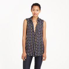 Silk sleeveless blouse in heart dot - shirts & tops - Women's new arrivals - J.Crew