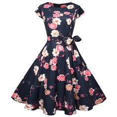 Vintage 50s 60s Retro Style Rockabilly Pinup Housewife Party Swing Tea  Dress  cc21e10b71