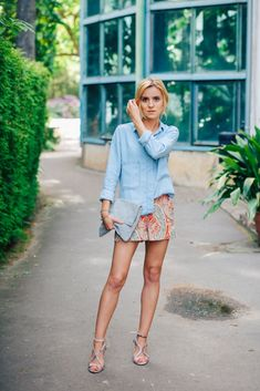 Summer outfit idea: jean shirt, pattern shorts, and strappy heels #fashion #style #inspiration
