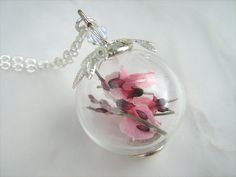 Tiny Pink Spring Flowers Hollow Glass Bead Nature Botanical Silver Plated Chain Silver Floral Bead Cap Swarovski Crystal via Etsy Glass Globe, Bead Caps, Spring Flowers, Bridesmaid Gifts, Mother Day Gifts, Swarovski Crystals, Glass Beads, Christmas Bulbs, Delicate
