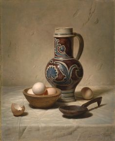 JOHANNES HENDRIK EVERSEN (1906-1995) Still Life with Eggs, a Jar and a Wooden Spoon