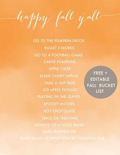 Happy Fall Y'all {Free and Editable Fall Bucket List Printable}