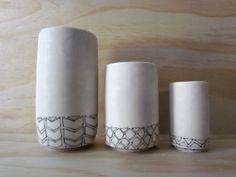Set of Three Vases. Black and white geometric shapes. Handmade ceramic porcelain vases. Housewarming Gift. Engagement Gift. on Etsy, $86.00