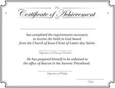 Faith In God Handouts Including A Completion Certificate