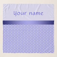 Blue pattern. Grid and silk band. Add your text. Scarf #name #scarf #chiffon #chiffonscarf #fashion #womenfashion #customized, #personalized, graphics, artwork, buy, sale, #giftideas, #zazzle, shop, discount, #deals, gifts, shopping, light, #blue, violet, lilac, #grid, pattern, silk, band, classic, style, #elegant, hexagonal, cells, abstract, gentle, name, text, #ultramarine