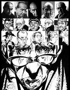 "decadentiacoprofaga: ""Alberto Breccia appearing on his comics. Comic Book Artists, Comic Artist, Comic Books Art, Art Sketches, Art Drawings, Character Art, Character Design, Comic Layout, Graphic Novel Art"