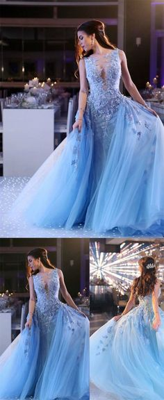 elegant light blue tulle prom dress with appliques