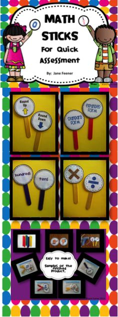 Math Assessment Sticks - A quick and easy way to check student's understanding of various math topics. Lots of different sticks to chose from.