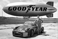 I'm looking forward to the day when I can drive my rally Porsche to the airfield and take my zeppelin for a spin. Only in Akron! Porsche Motorsport, Porsche 911 Rsr, Poster Pictures, Car Pictures, Goodyear Blimp, Sebring Florida, Vintage Year, Under The Shadow, Cute Cars