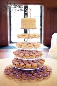 Ombre' purple cupcake tower