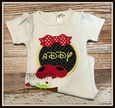 Girl Mouse Inspired Magic Shoes and Bow Pearl Circle Monogram White Short Sleeve…