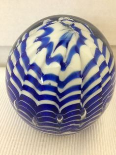Murano Art Glass Cobalt Blue Round Spider Web Controlled Bubble Paperweight