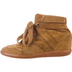 Pre-owned Isabel Marant Wedge Sneakers ($275) ❤ liked on Polyvore featuring shoes, sneakers, brown, brown shoes, suede sneakers, wedge sneakers, brown sneakers and isabel marant sneakers