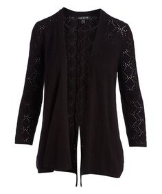 Another great find on #zulily! Black Pointelle Lace-Up Cardigan #zulilyfinds
