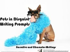 Price $3.00 Hilarious! Pets in Disguise Writing Prompts is a collection of funny dogs in their groovy costumes or settings. Encourage your students to write about pet characters with visuals and key words prompts. This SmartBoard, white board with adobe reader access, and projector activity offers:suggestions to the teacher, evaluation link common core standardsand 26 photographs with writing prompts.This collection aligns with Writing Common Core State Standards for students 3-5.