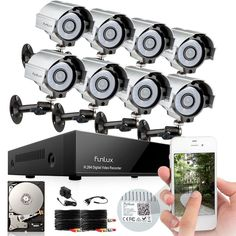 Funlux 8 Channel 960H HDMI DVR 8 Home Surveillance Security Camera System 500G #Funlux