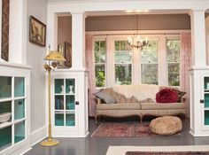 I need built-ins and columns like this.  But only old ones, surrounded by excellent dark wood floors.