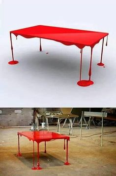 This bloody table would be a great Halloween decoration! or an everyday life decoration Funky Furniture, Unique Furniture, Furniture Design, Contemporary Furniture, Horror Decor, Sweet Home, Room Decor, Wall Decor, House Design