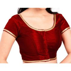 Readymade Designe Dark Red Color Brocade Silk Blouse for Saree (19 CAD) ❤ liked on Polyvore featuring tops, blouses, grey, women's clothing, silk blouses, grey silk blouse, grey silk top, grey top and gray blouse