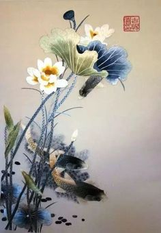 Water lilies and fish, traditional Chinese embroidery via TW by  All Things Chinese‏ @ClassicChina