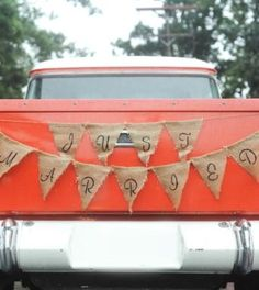 Burlap just married banner on vintage getaway car... dani. fine photography northampton, massachusetts