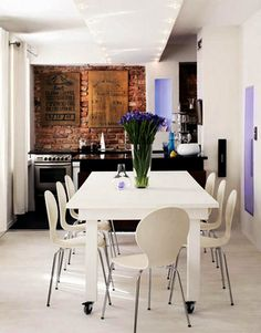 Ladrillos en una cocina moderna...