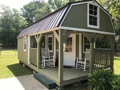 Customers Finished Out - Wraparound Lofted Barn Cabin Shed To Tiny House, Tiny House Cabin, Tiny House Living, Tiny House Design, Small House Plans, Shed House Plans, Lofted Barn Cabin, Shed Cabin, Shed Homes