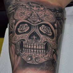 Half sleeve done.. #Bokitattoo #sugarskulltattoo