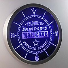 Personalized Custom Man Cave Patriots Country Neon Sign LED Wall Clock