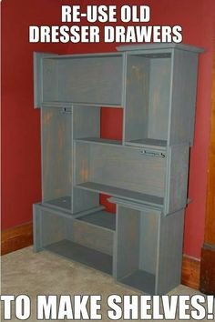 DIY use old dresser drawers to make shelves