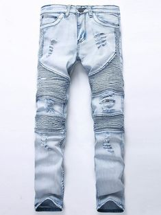Straight Color Wash Ripped Biker Jeans - LIGHT BLUE 32 Jeans Pants 62cf6c0cd70