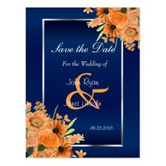 #savethedate #postcards - #Pretty Orange Flowers on Navy Blue- Save The Date Postcard
