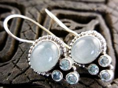 Aquamarine & Blue Topaz Gemstone Sterling Silver Earrings