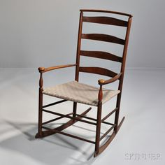 "Shaker Production ""7"" Maple Cushion Rail Rocking Chair 