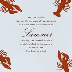 Crawfish by Paperless Post. Get ready for barbecue season with picnic and BBQ party invitations, available online and on paper. Track RSVPs and share photos with easy-to-use tools. See more at paperlesspost.com.
