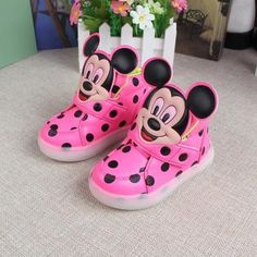 2016 Children Shoes Girls Led Shoes Cartoon Mouse Polka Dot Children Sneakers Light Led Emitting Lights Up Casual Shoes 21-25