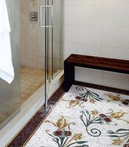 Indoor mosaic / for bathrooms / floor-mounted / glass facing