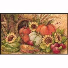 "Fall Abundance Doormat by MatMates by Matmates. $20.95. Made with non-slip rubber. Weatherproof for outdoor or indoor use.. Vibrant colors, fade-resistant doormats.. Use MatMates Doormats alone or with the decorative tray (as shown).. MatMates Doormat SIZE: 18"" x 30"".. NOTE: Tray sold separately. TRAY SIZE: 24"" x 36"".. FALL ABUNDANCE Mat by MatMatesTMThis MatMatesTM interchangeable doormat is made with a non-slip backing of environmentally-friendly recycled rubber tires. T..."