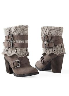 Now your boots can match your sweater :) Venus sweater buckle boot.