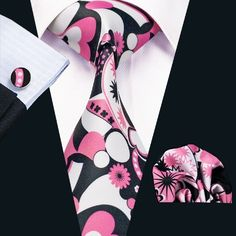 SN-1226 New Floral Prints Mens Tie Hanky Cufflinks Black&Pink Stylish Silk Ties