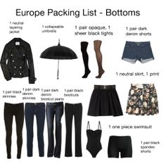 """When you're going to Europe, you want to look a little more upscale. Nothing says """"American tourist"""" like ugly khakis, printed t-shirts, and fanny packs. This guide has an amazing amount of tops and bottoms to mix and match into weeks and weeks' worth of cute, elegant outfits, whether you're exploring museums or lounging in a French cafe.  Best of all: it all fits in just one rolling suitcase. Who says we have to skimp on style when we travel?"""