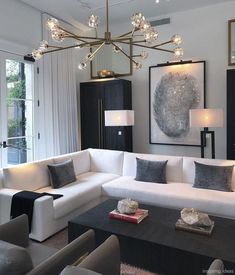 44 Fascinating Black Living Room Designs Ideas That Never Go Out Of Fashion Home Decoration Remodelling Ideas / / 44 Fascinating Black Living Room Designs Ideas That Never Go Out Of FashionFascinating Black Livi Black And White Living Room, Apartment Interior, House Interior, Apartment Decor, Modern Apartment Decor, Apartment Interior Design, Living Room Designs, Room Interior, White Interior Design