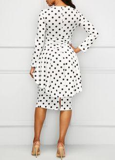 Polka Dot Print Long Sleeve Overlay Dress on sale only US$34.90 now, buy cheap Polka Dot Print Long Sleeve Overlay Dress at liligal.com