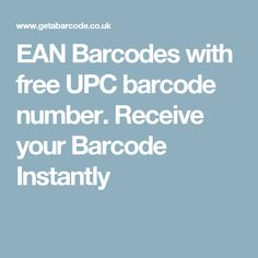 EAN Barcodes with free UPC barcode number. Receive your Barcode Instantly