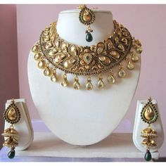 Bridal gold, purple, green polki & kundan set