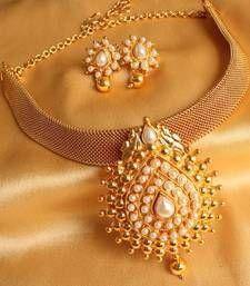 Buy GORGEOUS ANTIQUE PEARL PEACOCK PENDANT NECKLACE SET necklace-set online