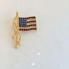 Patriotic American Flag Brooch  Vintage Red White by JennyandPearl