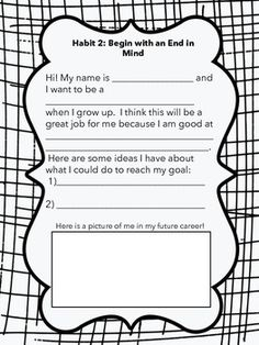 This product goes along with the Leader in Me program. These worksheets are great activities for Habit 2: Begin with an End in Mind. I also asked the students to write down their dream job and took a picture!