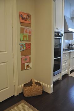 Displaying kid art--cork boards on command adhesive strips. Fun Arts And Crafts, Fun Crafts For Kids, Kids Fun, Clutter Organization, Organizing, Easy Art For Kids, Kids Decor, Decor Ideas, Kids Artwork