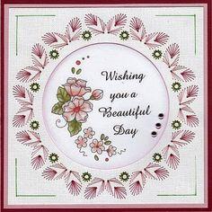 Josee's Kaartenblog: Toch weer een kaartje. Embroidery Cards, Paper Frames, String Art, Beautiful Day, Decorative Plates, Scrapbook, Stitch, Diy, Nature